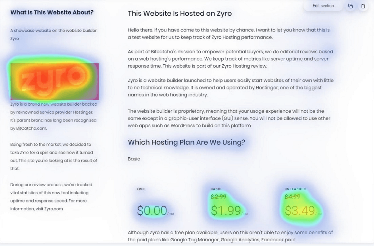 zyro ai heatmap shows you where to focus on building your web page